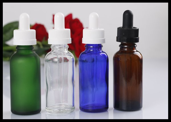 30ml Dropper Bottles Clear Amber Green Blue Glass Bottles Massage Body Oil Bottles Child Safty Caps 100pieces/lot