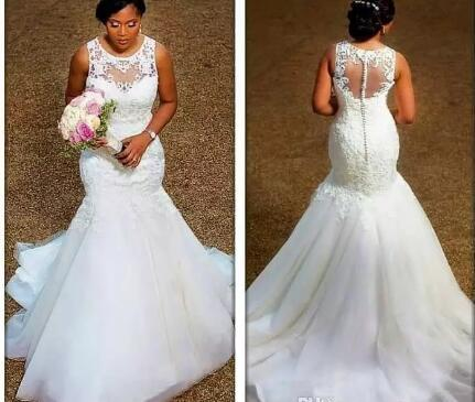 100 Real Image Elegant Mermaid Wedding Dresses Sheer Neck Appliques Lace Tulle Plus Size Wedding Dresses Cheap Bridal Gowns Illusion Back