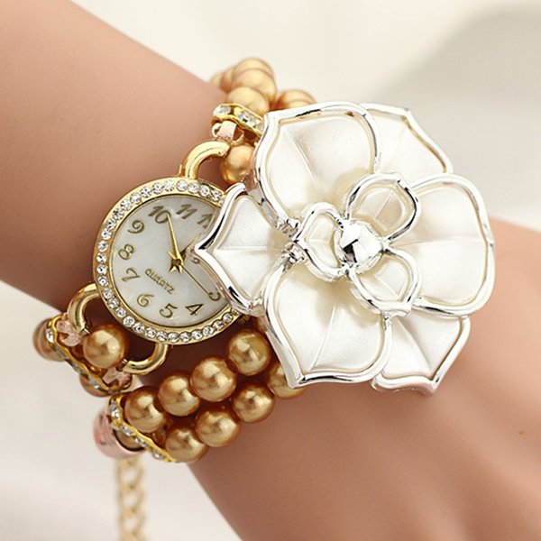 Top Brand Watches Women Personalized Flowers Pearl Wrapped Bracelet Watch Ladies Fashion Students Watch @F