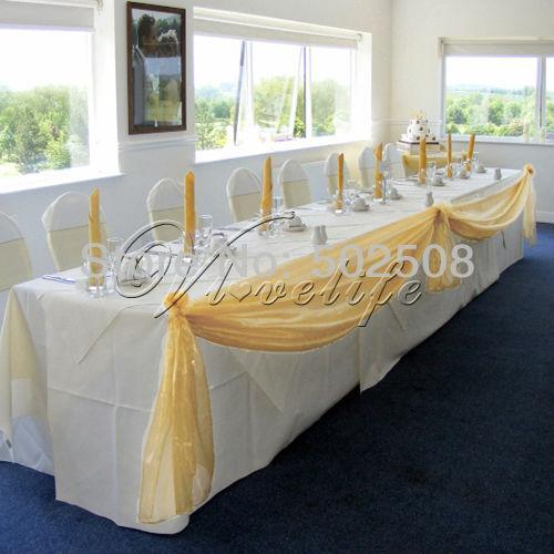 Großhandels-Freies Verschiffen 5M * 1.35M Gold Top Table Swags Sheer Organza Stoff Hochzeits Party Bogen Dekorationen DIY
