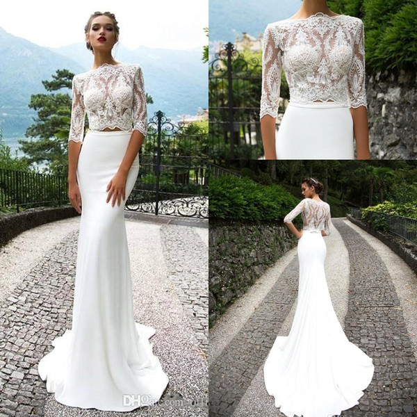 Milla Nova Two Piece Lace Mermaid Wedding Dresses Half Sleeves Appplique Sweep Train Wedding Dresses Bridal Gowns vestidos robe de mariée