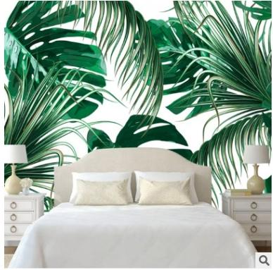 Green Tropical Jungles Palm Tree Leaves Woods Wallpaper Roll Floral Forest Natural Plant Non Woven Wall Paper For Childs Room Love Wallpaper Love