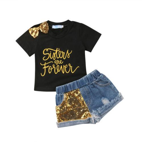 Summer Bow knot Baby Girl Outfit Letter Print Short Sleeve Black T-shirt Tops Sequin Denim Shorts Clothes 2Pcs Set Fashion New