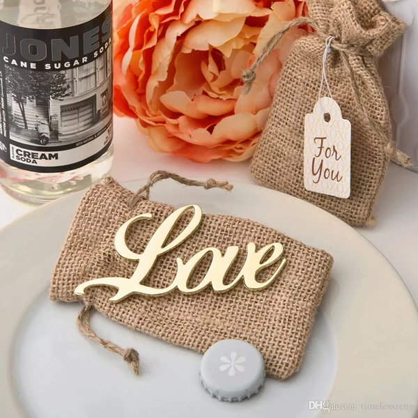 Antique Gold Love Bottle Opener And Retro Sacks With FOU YOU Sign Bridal Shower Gift Wedding Decoration