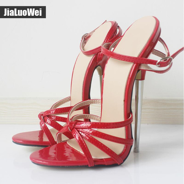 18cm Red Fetish GiaroSlick Fashion Ankle Strap Buckle Peep Toe Women sandals Metal Thin Heel High-Heeled Dress Shoes Unisex Man Summer heels