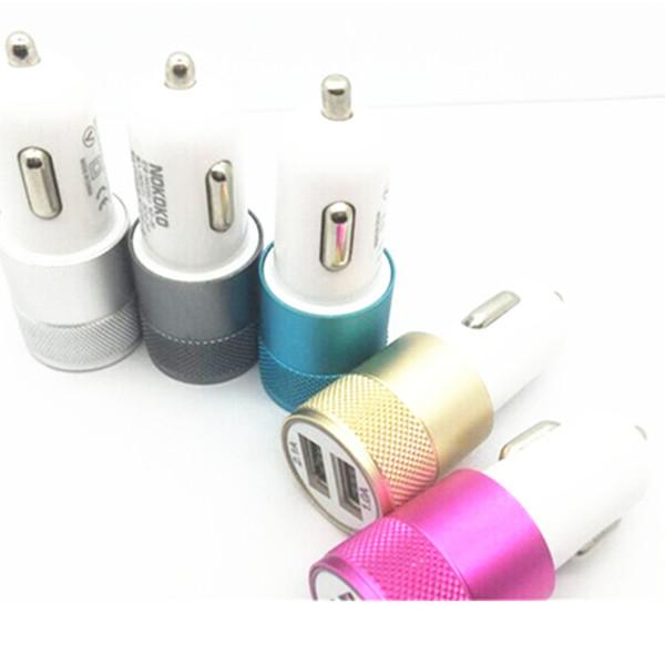 Mini Alüminyum Malzeme Çift 2 Port Için Evrensel USB Araç Şarj Kablosu Adaptörü iphone 8 X ipad 2 3 4 Samsung Galaxy S4