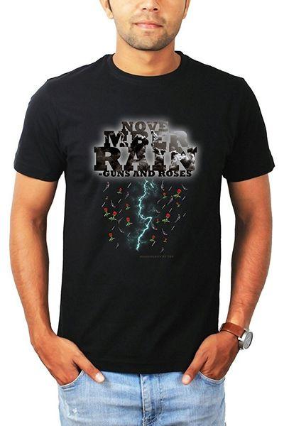High Quality T Shirts Custom Printed November Rain Guns Roses Band Mens T Shirts O-Neck Short Sleeve Best Friend Shirts For Men