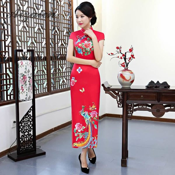 Long Cheongsam Traditional Chinese Wedding Dress Red Qipao Casual Dresses Evening Gown China Bride Traditions Women Phoenix