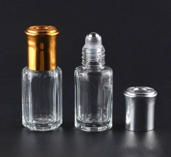 3 ml 6 ml 10 ml 12 ml Botellas de vidrio octagonales con rollo en botellas de aroma Perfume de bola de metal Aceite esencial Viales recargables LOGO Imprimir 200 unids / lote