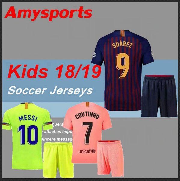 buy cheap 20b55 8b10c Wholesale 18/19 Kids Kit Barcelona Third Messi Suarez Jersey Soccer 2019  Home Away 3rd Pique Iniesta Coutinho A.Iniesta Football Shirt Youth Boy Kit  ...