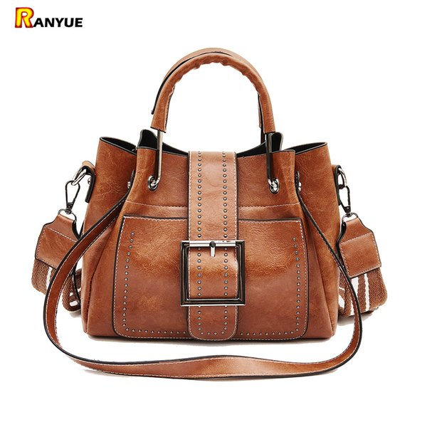 High Quality Pu Leather Women Bag Rivet Bucket Bag Women Leather Handbags Vintage Tote Top-handles Shoulder Bags For Girl Ladies