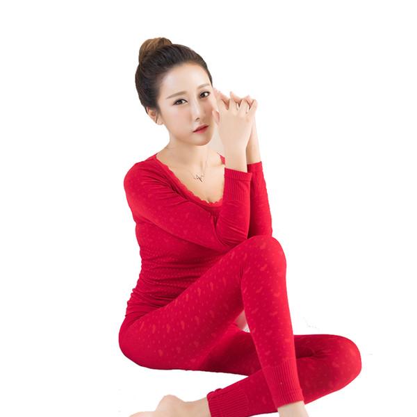 Moda Termal Iç Çamaşırı Kış Seksi Dikişsiz Renkli Pamuk Baskı Kadınlar için Sıcak Uzun John Şekilli Iç Çamaşırı Setleri