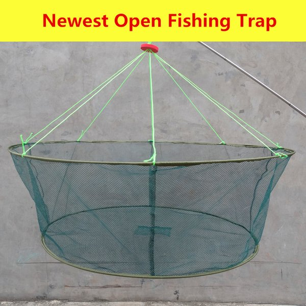 80cm/100cm L Size Fishing Brail Net Hand Trap Nylon Mesh Fish Shrimp Crab Baits Open Fishing Trap Dip Net Gear Whole Sale