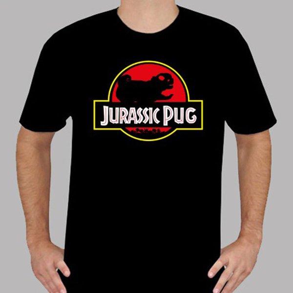 Yeni Jurassic Pug Parkı Komik Dinozor Film Logosu Mens Siyah T-Shirt Boyut S 3XL için Komik ücretsiz kargo Unisex Rahat hediye