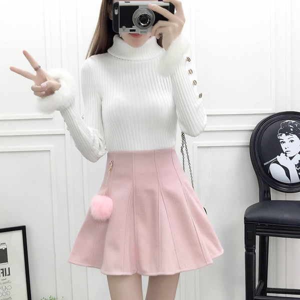 dc4ddc441 Compre La Moda Coreana Se Adapta A Las Mujeres Jersey De Cuello Alto Suéter  Una Palabra Falda Conjunto De Ropa De Dos Piezas Traje De Dama Sólido ...