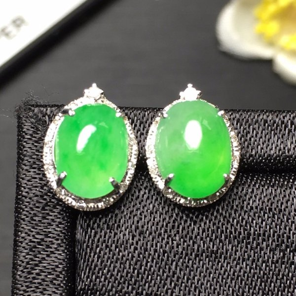 Fine Jewelry Collection Real 18K White Gold AU750 100% Natural Green Jade Gemstone Myanmer Origin Stud Earrings for Women S923