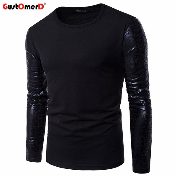 GustOmerD New Spring Bright Sleeves Patchwork T Shirt Men Fitness Solid Mens T-shirts Slim Casual Male Long Sleeve Tee Shirts