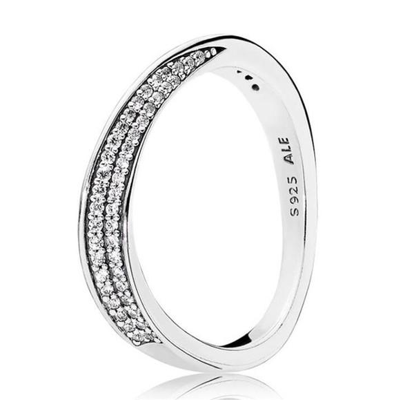 2018 925 Sterling Silver Rings Pandora Engagement Wedding Rings Set