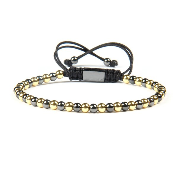 Wholesale 10pcs/lot Top Quality Jewelry 4mm Gold And Black Beads Braided Macrame Bracelets For Men Not fade