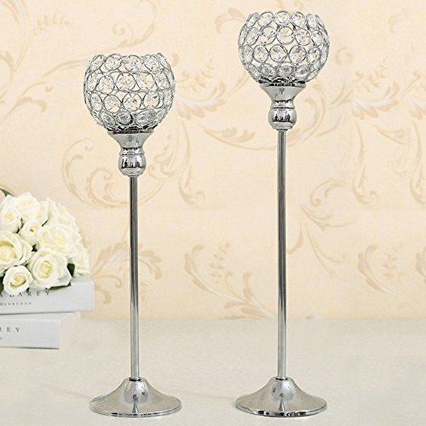 Crystal Candle Tealight Holders Stand Metal Candlesticks Wedding Party Table Centerpieces Candelabra Holiday Home Decoration Fathers Gift