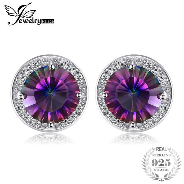 4ct arcobaleno naturale Mystic Topaz orecchini a lobo genuino puro argento sterling 925 per le donne all'ingrosso di alta qualità nuovo