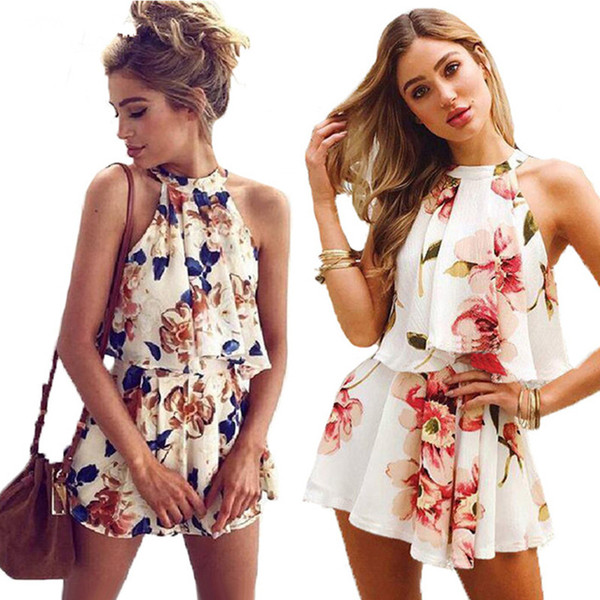 Very nice Sexy Floral Print Playsuit Women 2018 New Fashion Halter 2 Pieces Tops and Shorts Boho Style Summer Jumpsuits Overalls