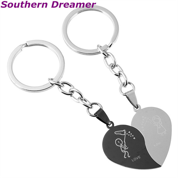 2 Pcs Cute Comic Couple LOVE YOU Letter Heart-shape Keychains Black Stainless Steel Half Heart Silver Key Chains For Lovers Pair