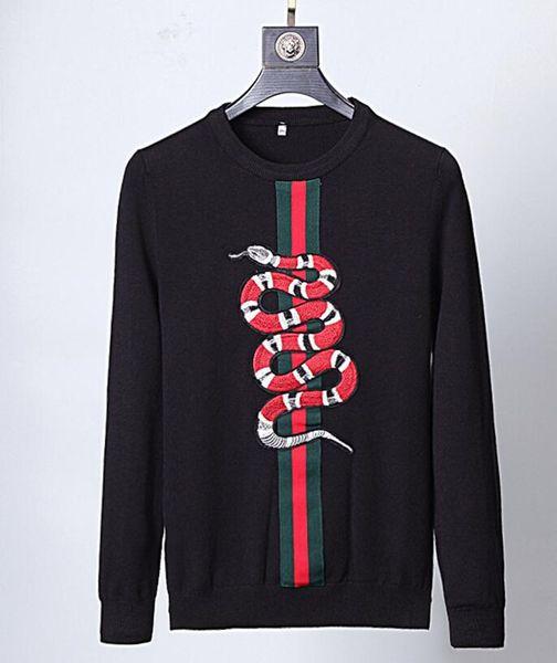 Pull design à manches longues pour hommes, mode masculine, col rond, broderie serpent rouge Gucci, marque de cachemire surpiquée