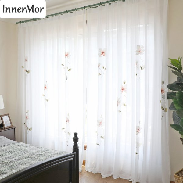 Innermor France painting Curtain For Living room Hand Painted noble curtains for kitchen bedroom tulle Voile Sheer Customized