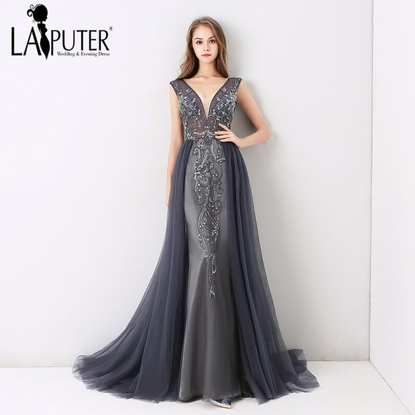 772130b8db 2019 Laiputer New Arrival 2018 V Neck Luxury Beading Pearls Dusty Grey  Crystal Vintage Backless Cheap Long Formal Evening Prom Dress C18111601  From ...