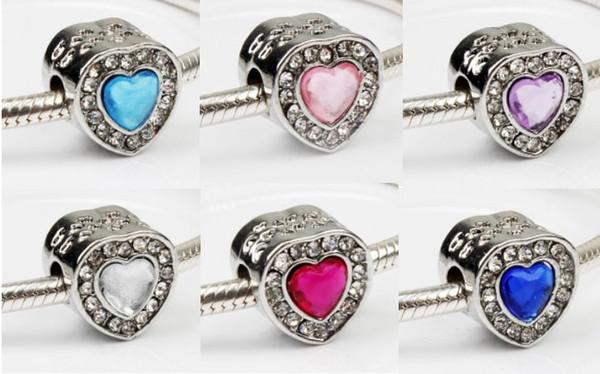 Wholesale 30pcs Cat's Eye Crystal Charm Sterling Silver European Charms Bead Big Hole Fit Pandora Bracelets Snake Chain Fashion DIY Jewelry