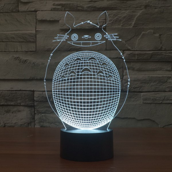 Totoro Tonari Novo Estilo 3D Optical Night Light 9 LEDs Night Light DC 5 V Bateria AA nightlight Dropshipping Frete Grátis