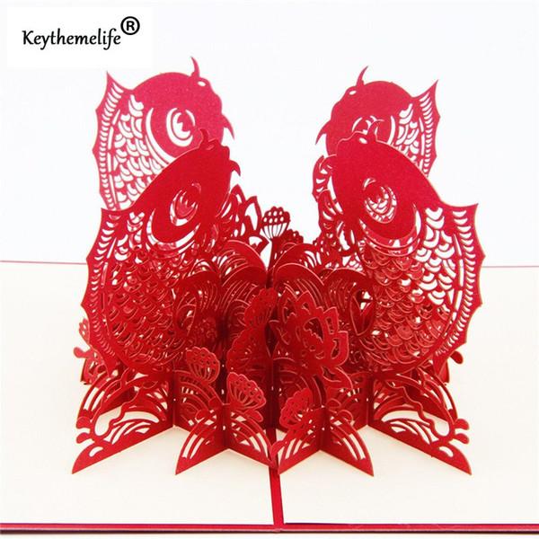 China Rot 3D Fisch Karten Einladungen Pop Up Postkarten Origami Papier Best Wish Gruß Weihnachtsgeschenk Familienfreund c1