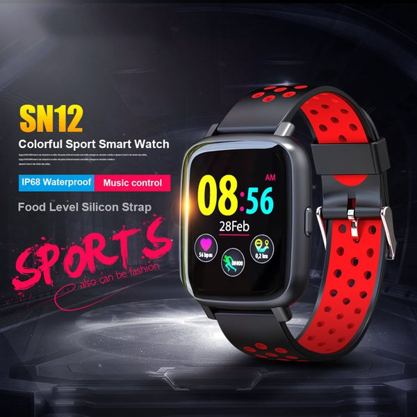 SN12 Reloj inteligente IP68 Monitor de ritmo cardíaco impermeable Presión arterial Bluetooth Smartwatch Hombres Mujeres Deporte Fitness Pantalla colorida Reloj