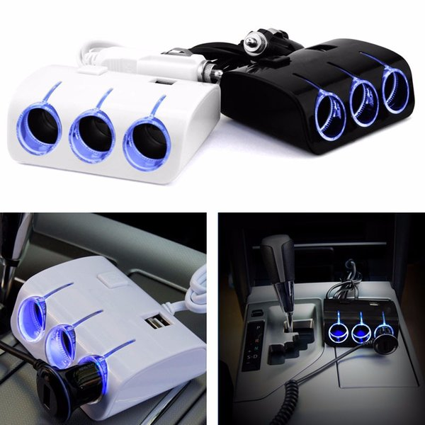 USB Car Charger Power Supply Adapter Plug 1 to 3 Way Socket Car Adapter Extender Splitter mobile phone charger