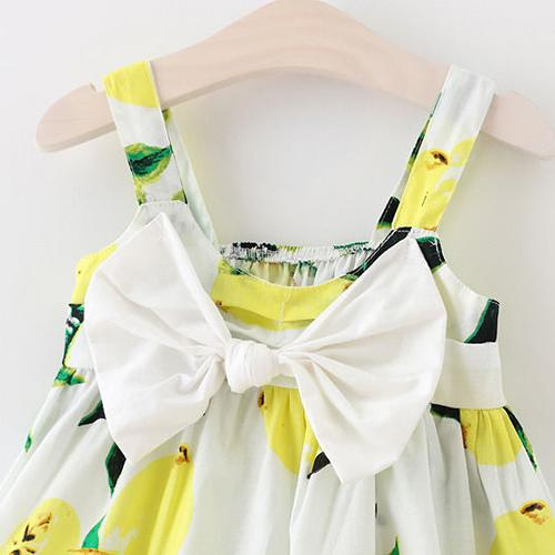 HOT SALE Summer Infant Baby Girls Floral Dress Lemon Print Bowknot Sundress Clothes , Yellow , 9-18 months