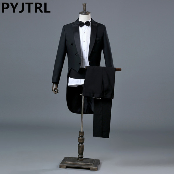 PYJTRL England Gentleman Two-piece Black White Groom Cheap Wedding Tuxedos Suits For Men Classic Tail Coat With Pants Slim Fit D18101105