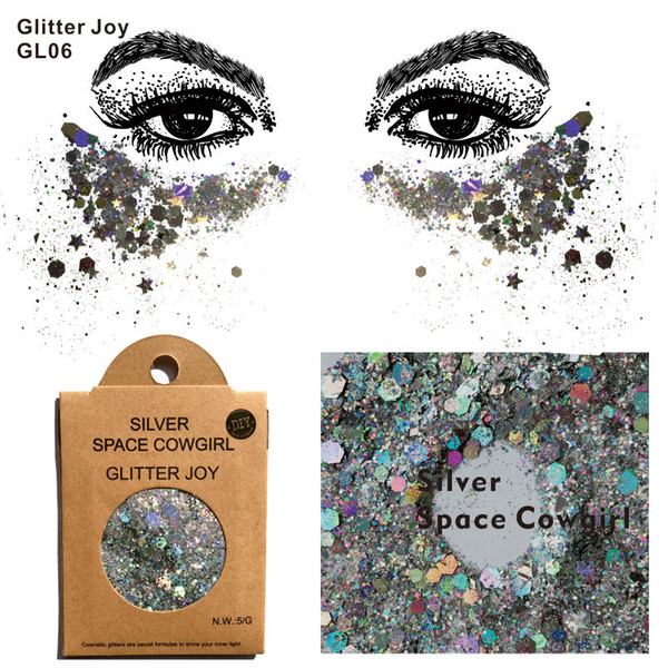 GL06 one pack of Silver Space Cowgirl Chunky Body Glitter Sequins Glitter Face Festival Beauty Body