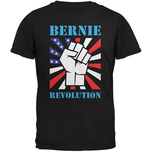 Cheap Custom T Shirt Printing Zomer Men O-Neck Short-Sleeve Election 2016 Bernie Sanders Raised Fist Revolution Black Adult