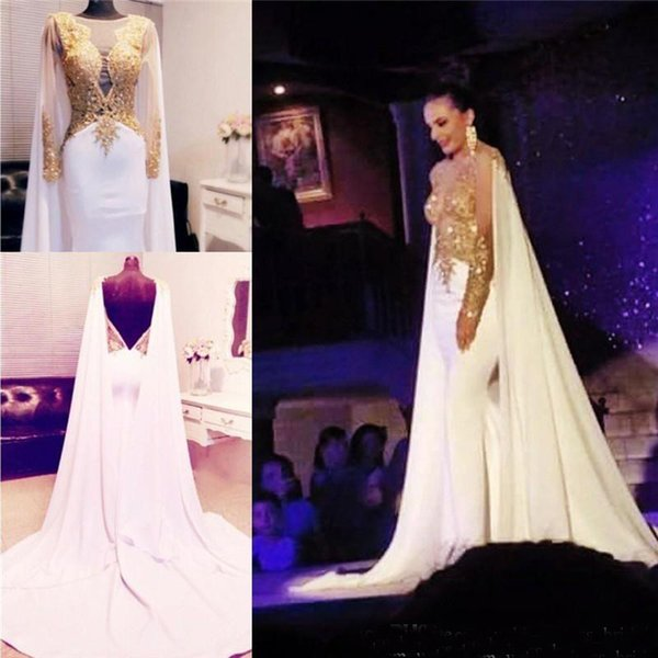Beaded Gold Applique Long Sleeve Evening Dress With Cape 2018 Mermaid Backless Formal Prom Dress Party Gowns Red Carpet Celebrity Party