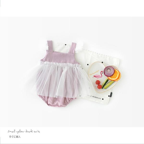 Neue Design Mode Baby Kinder Strampler Kleinkind Mädchen Nette Lila Spitze einteilige Overall Neugeborenen Kinder Kleidung