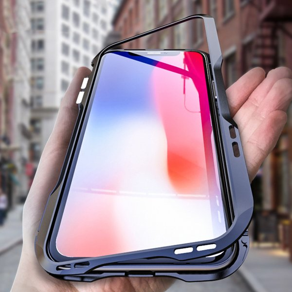 """6.1"""" Metal Bumper for iPhone XR Case Magnets Adsorption Cover Aluminum Tempered Glass Coque for iPhone XS MAX 6.5"""" Shockproof"""