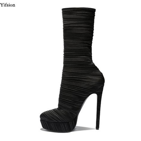 Yifsion New Women Mid Calf Boots Sexy Stiletto High Heel Shoes Nice Round Toe Ladies Black Party Prom Shoes Women US Size 3-10.5