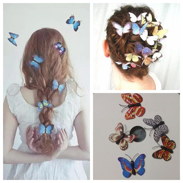 Bridal Wedding Hair Accessories Clip Imitation Butterfly 3D Headpiece Waterproof Party Festival Girl 10 Pcs A lot Multi Color Hair Clips