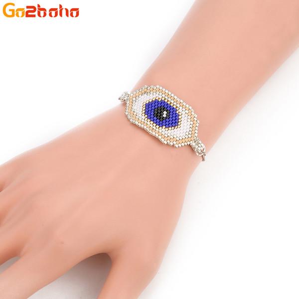 Go2boho Gold Evil Eye Bracelets Mujeres Hombres Regalos de la amistad Azul MIYUKI Granos de la semilla de la joyería femenina hecha a mano pulsera de moda masculina