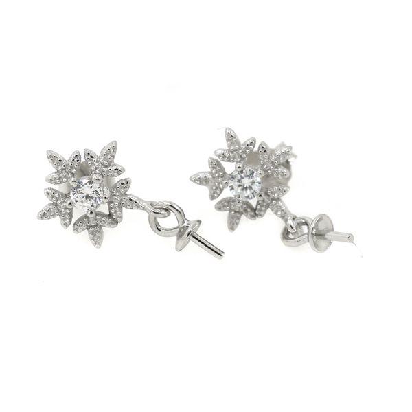 Wholesale 100% 925 Sterling Silver Stud Earrings for Women Crystal 6-12mm Pearl or Round Bead Semi Mount Earrings
