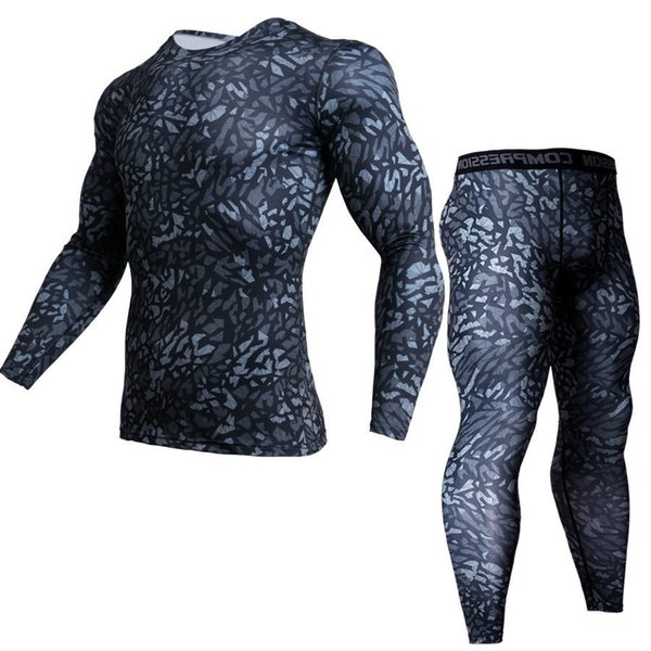 kit Clothing mens t shirts base layer +compression pants 2 piece camouflage tracksuit men thermal underwear