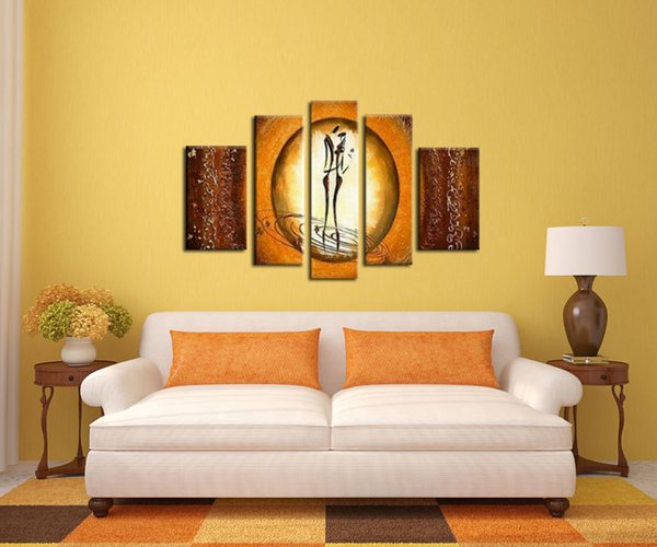 Wall Household goods oil painting Manual Composition of 5 Thick bottom texture Home Hot art Craft gift poster