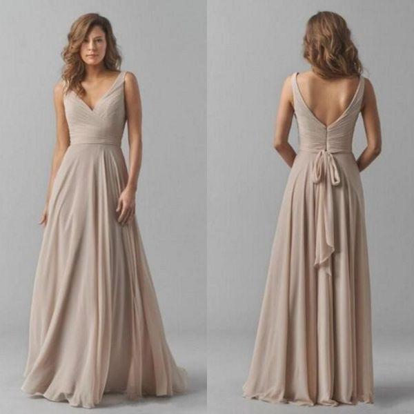 Top-Qualität Brautjungfer Kleider lange V-Ausschnitt geraffte Mieder A-Linie bodenlangen Chiffon formale Trauzeugin Kleider
