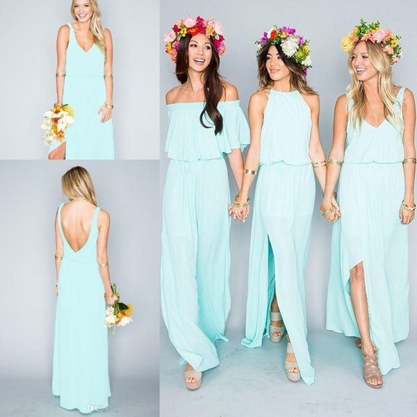 top popular Summer Beach mint Bridesmaid Dresses 2018 Mixed Style Flow Chiffon Side Split Boho Cheap budget bride bohemian country Bridesmaid Gowns 2019